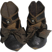 Antique Jumeau Bee Stamped Doll Shoes Size 9
