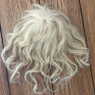 Antique Blond Mohair Wig w/ Bangs Small Doll