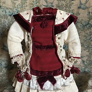 Wonderful Artist Made Dress for Antique Doll Bru Jumeau