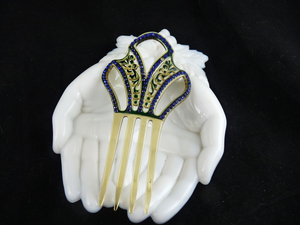 art deco celluloid and blue rhinestone hair comb ornament from ornaments on ruby lane. Black Bedroom Furniture Sets. Home Design Ideas
