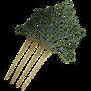 Vintage Art Deco Celluloid Rhinestone Comb Lacy Mantilla