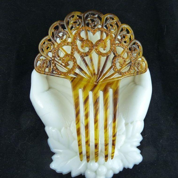 Vintage Faux Tortoiseshell Celluloid Rhinestone Hair Comb Ornament