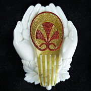 Vintage Art Deco Celluloid and Rhinestone Hair Comb