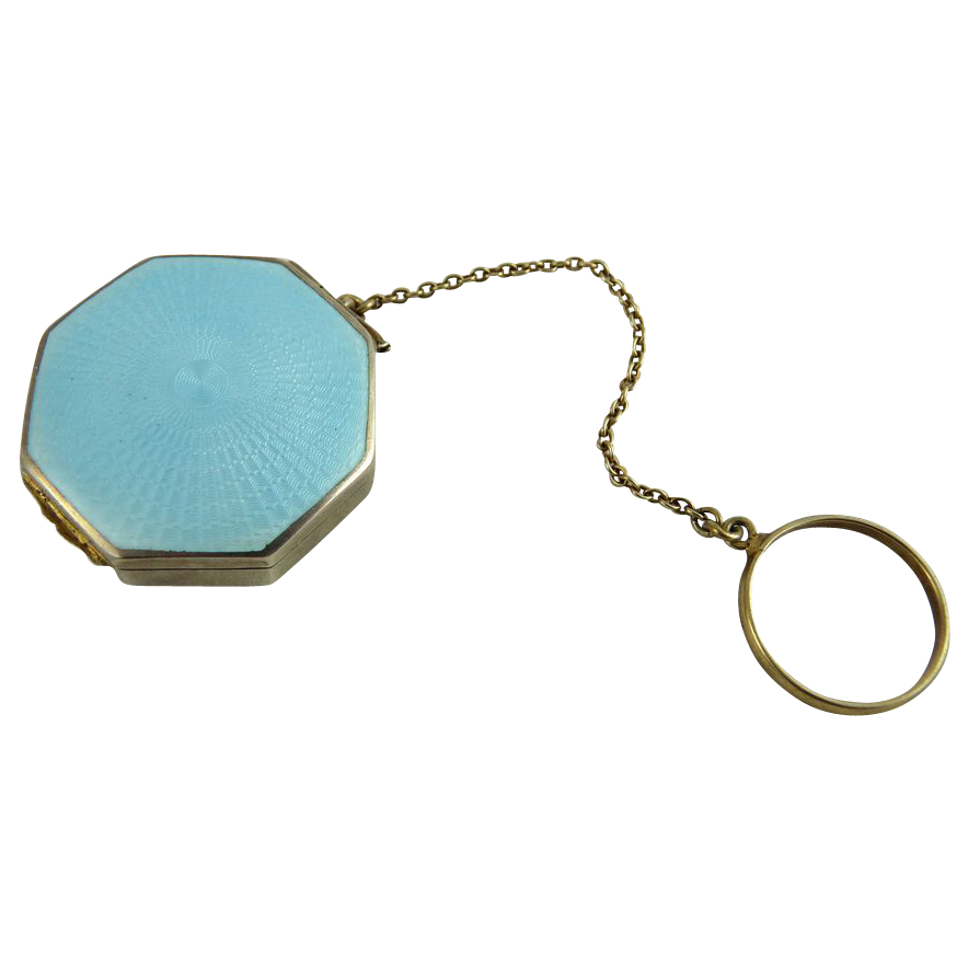 Vintage Art Deco Aqua Blue Guilloche and Sterling Rouge Compact