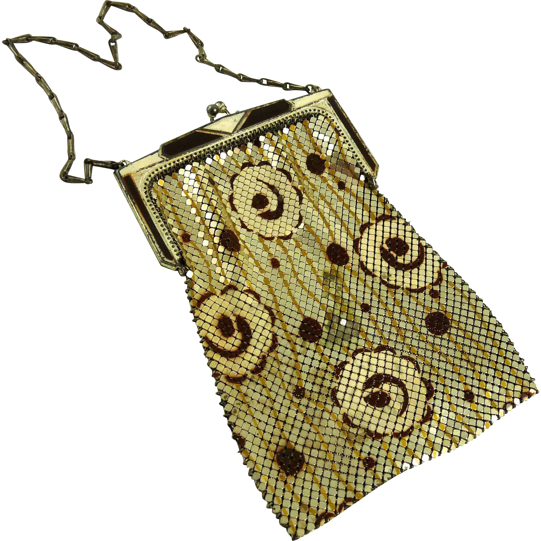 Vintage Art Deco Whiting and Davis Enamel Mesh Bag