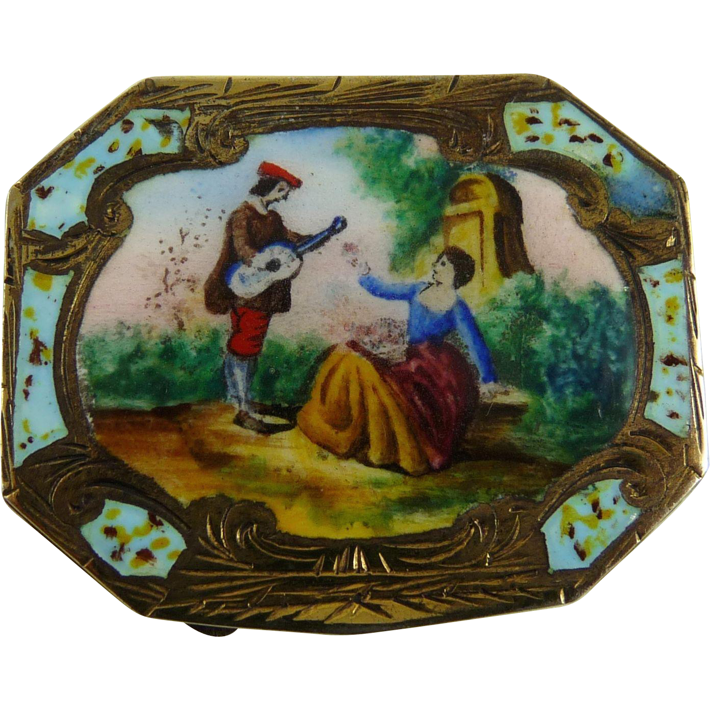 Vintage Italian 800 Silver Enamel Pill Box Courting Couple