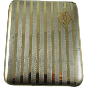 Vintage Art Deco Cigarette Case Sterling Silver and 14K Gold