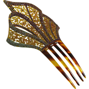 Vintage Art Deco Celluloid Rhinestone Hair Comb