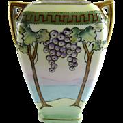 Vintage Nippon Porcelain Vase Grape Arbor