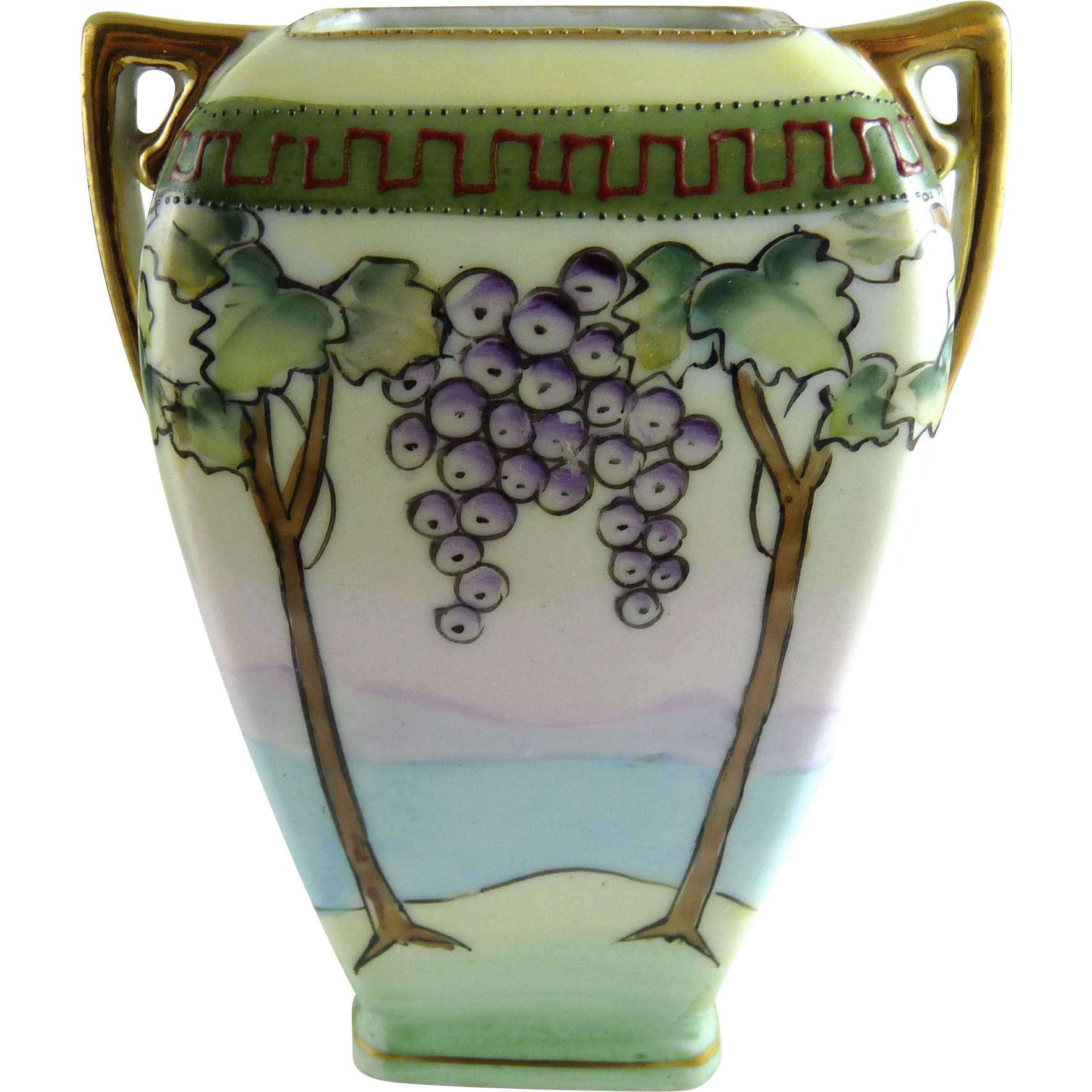 Vintage Nippon Porcelain Vase Grape Arbor