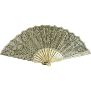 Antique Victorian Hand Fan Tulle and Sequins