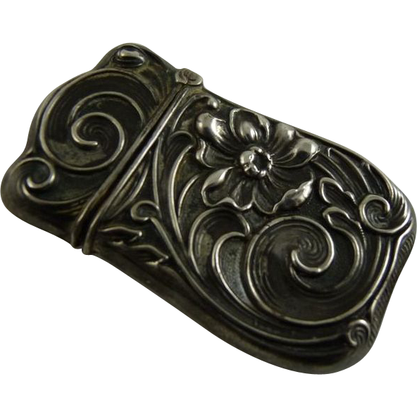 Antique Art Nouveau Silver Match Safe or Vesta