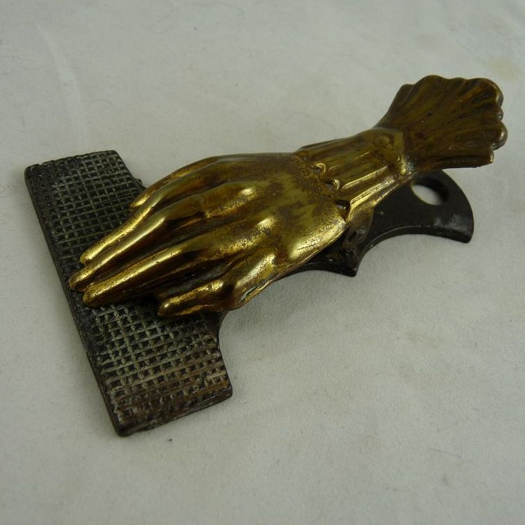 Victorian Brass Desk Clip Hand Form