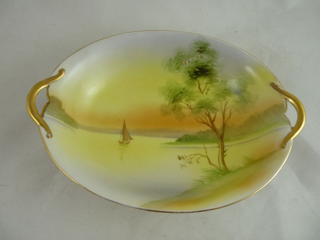 Nippon Oval Dish Hand Painted Blue