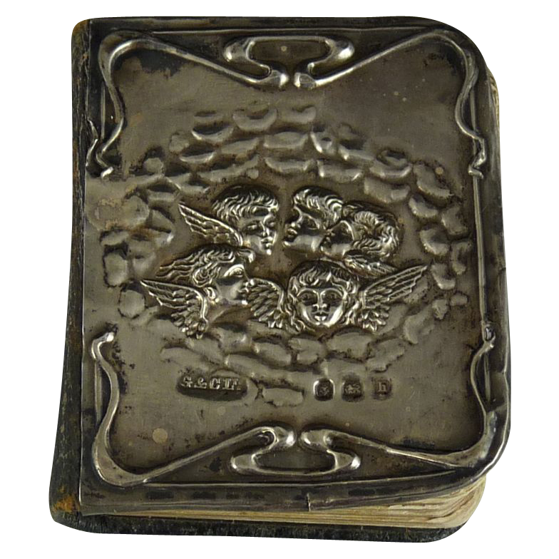 Antique Art Nouveau Silver Mounted Prayer Book