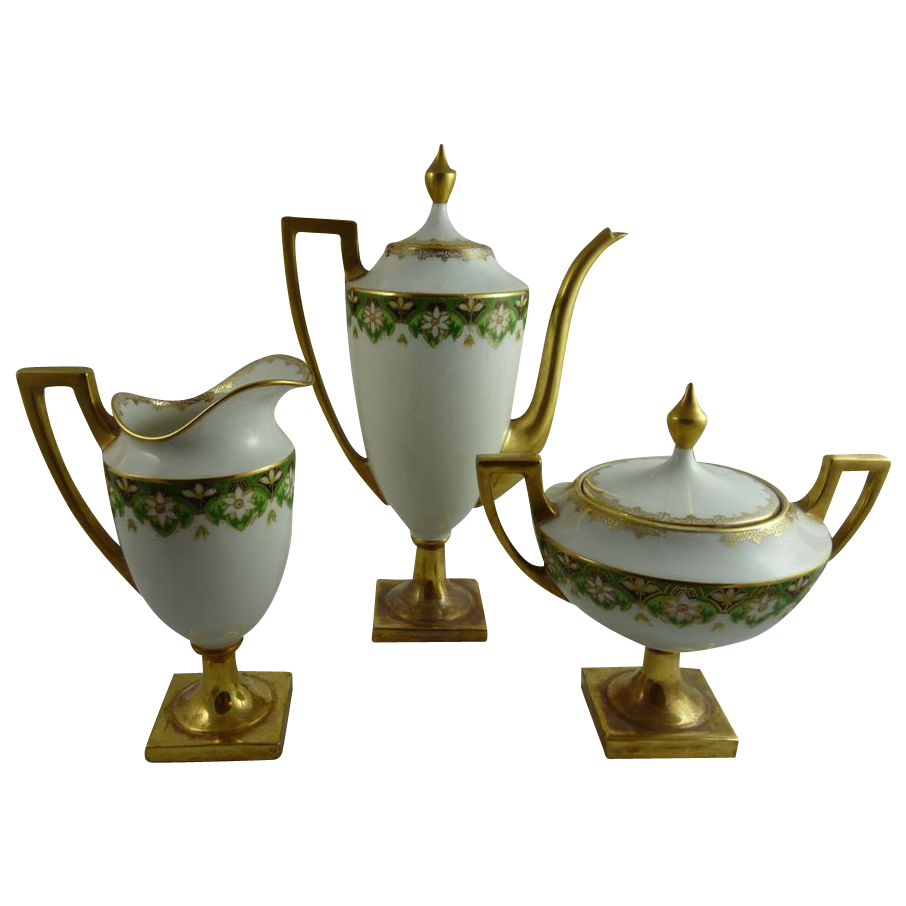 Antique Limoges Pouyat Porcelain Federal Style Bachelor Coffee Set