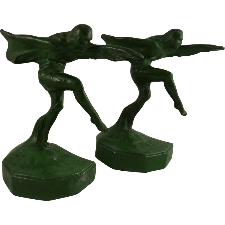 Vintage Art Deco Bookends Speed or Dancing Girl