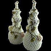 Pair of Meissen Style Schneeballen Dresser Bottles