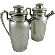Vintage Pair of Silver Plated Cocktail Shakers Individual Size