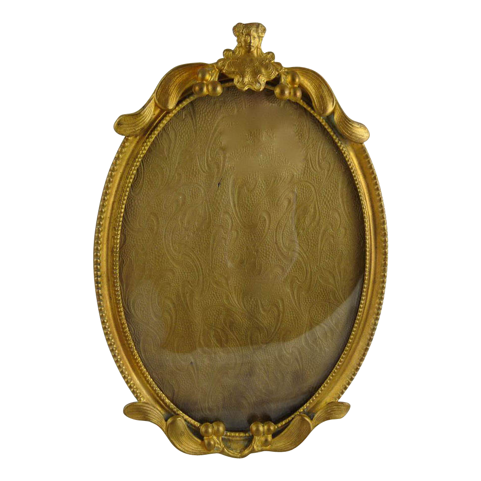 Antique Art Nouveau Gilt Brass Frame Oval