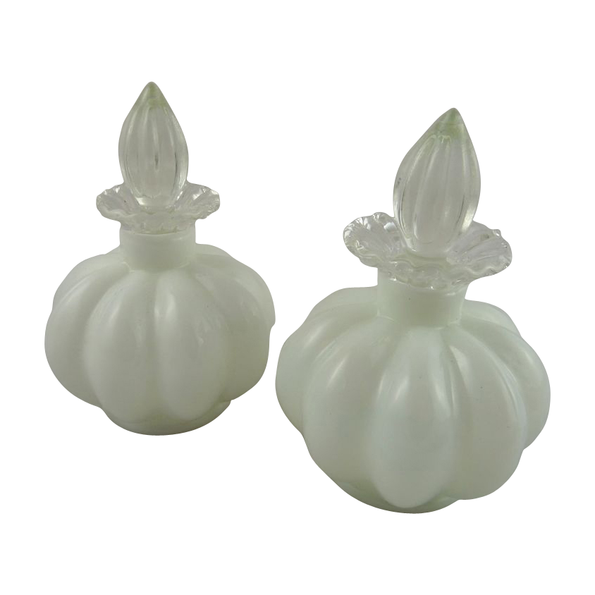 Pair of Vintage Fenton Melon Perfume or Cologne Bottles