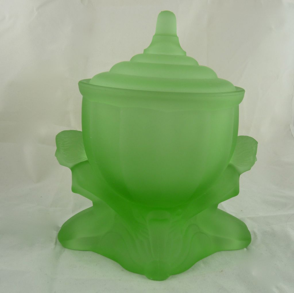 Vintage Art Deco Powder Jar The Dolly Sisters Green Satin Glass From Ornaments On Ruby Lane