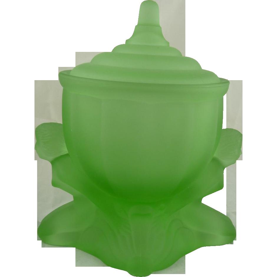 Vintage Art Deco Powder Jar The Dolly Sisters Green Satin Glass