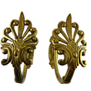 Large Antique Victorian Gilt Brass Curtain Tiebacks