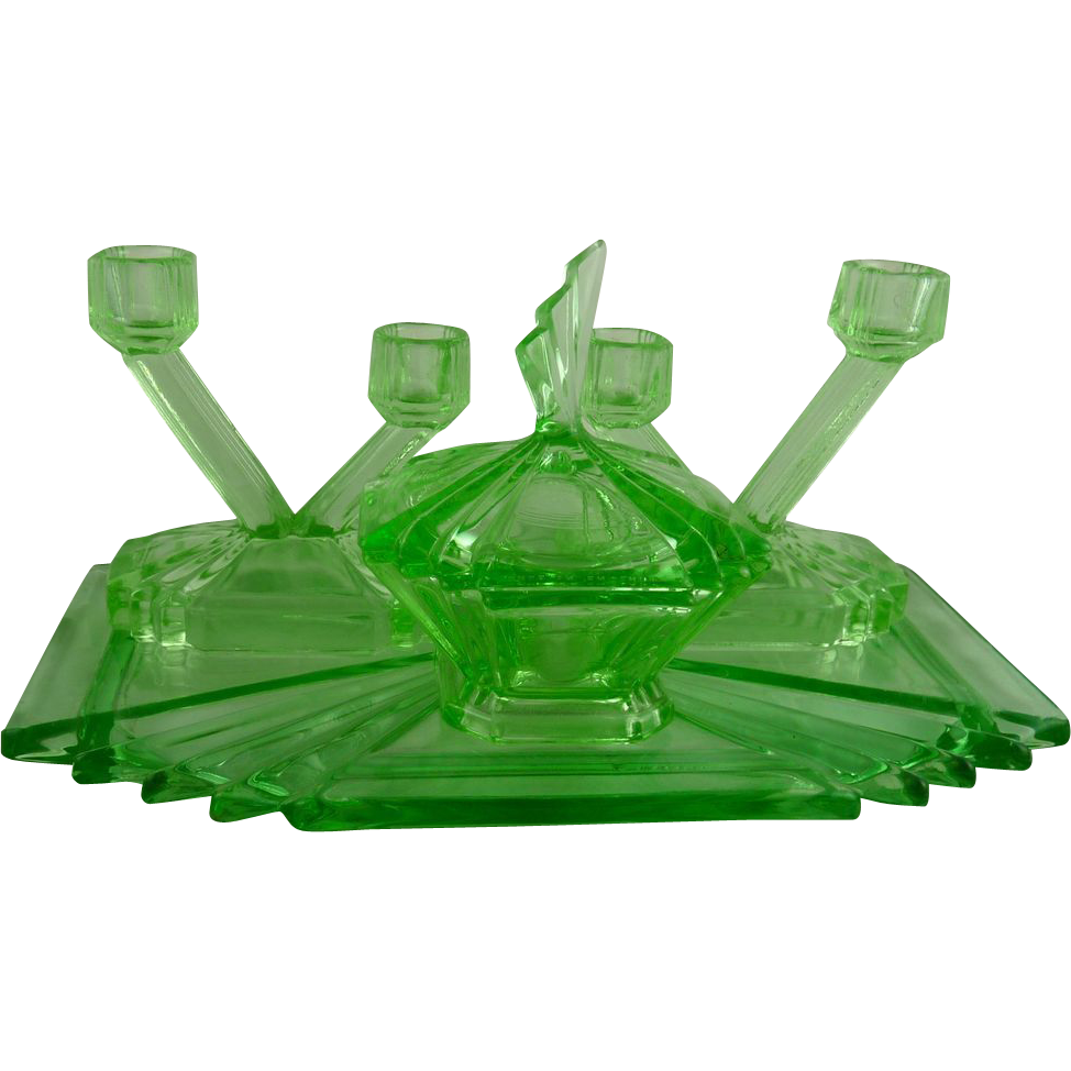 Vintage Art Deco Green Glass Vanity Set Bagley Bedford From Ornaments On  Ruby Lane