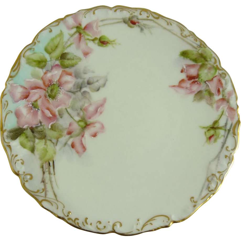 Antique Limoges Plate Tressemann and Vogt T&V Wild Roses