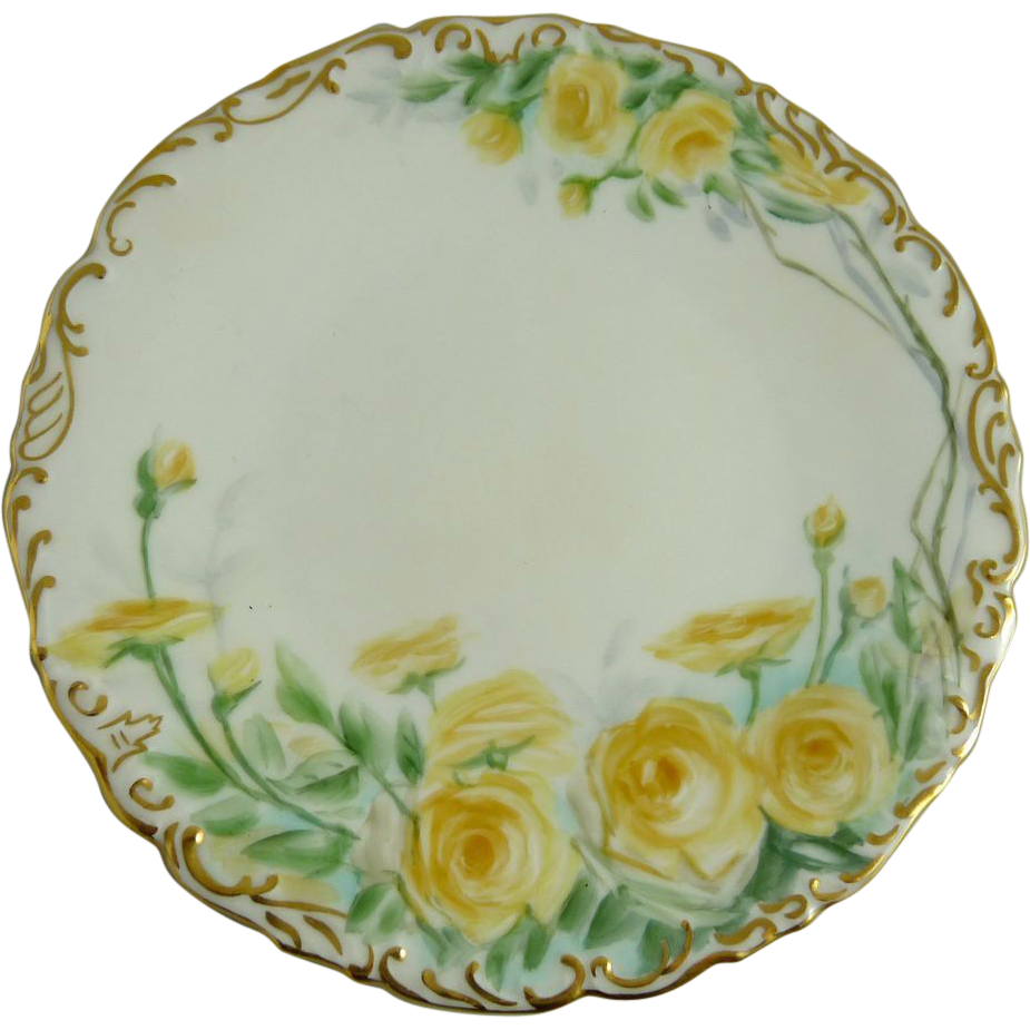 Antique Hand Painted Limoges Plate Tressemann and Vogt (T&V)