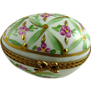 Vintage Limoges Porcelain Hand Painted Egg Box