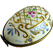 Vintage Limoges Porcelain Egg Box Hand Painted