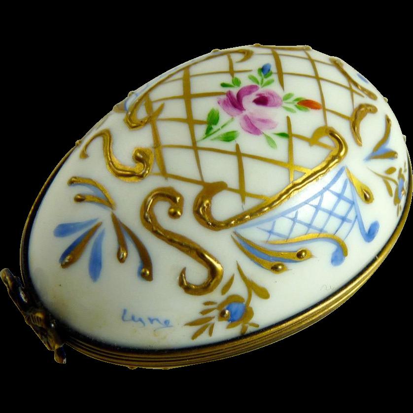 Vintage Limoges Porcelain Egg Box Hand Painted