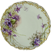 Tressemann and Vogt (T&V) Limoges Plate Violets Signed Dated