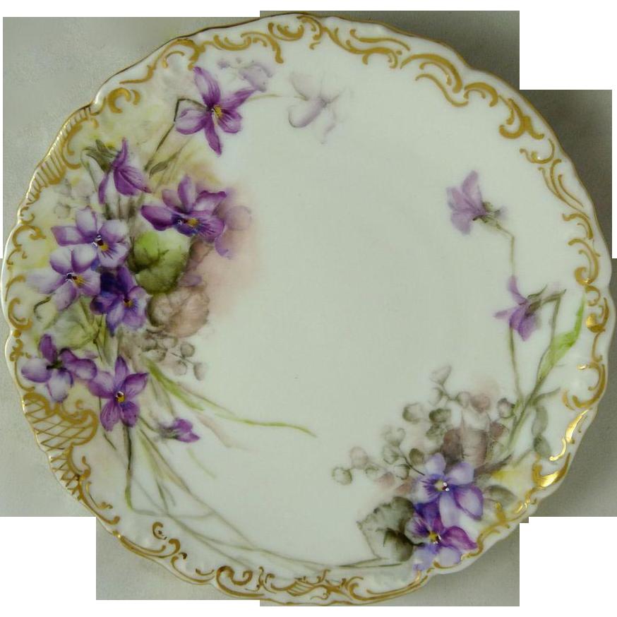 Tressemann And Vogt (T&V) Limoges Plate Violets Signed