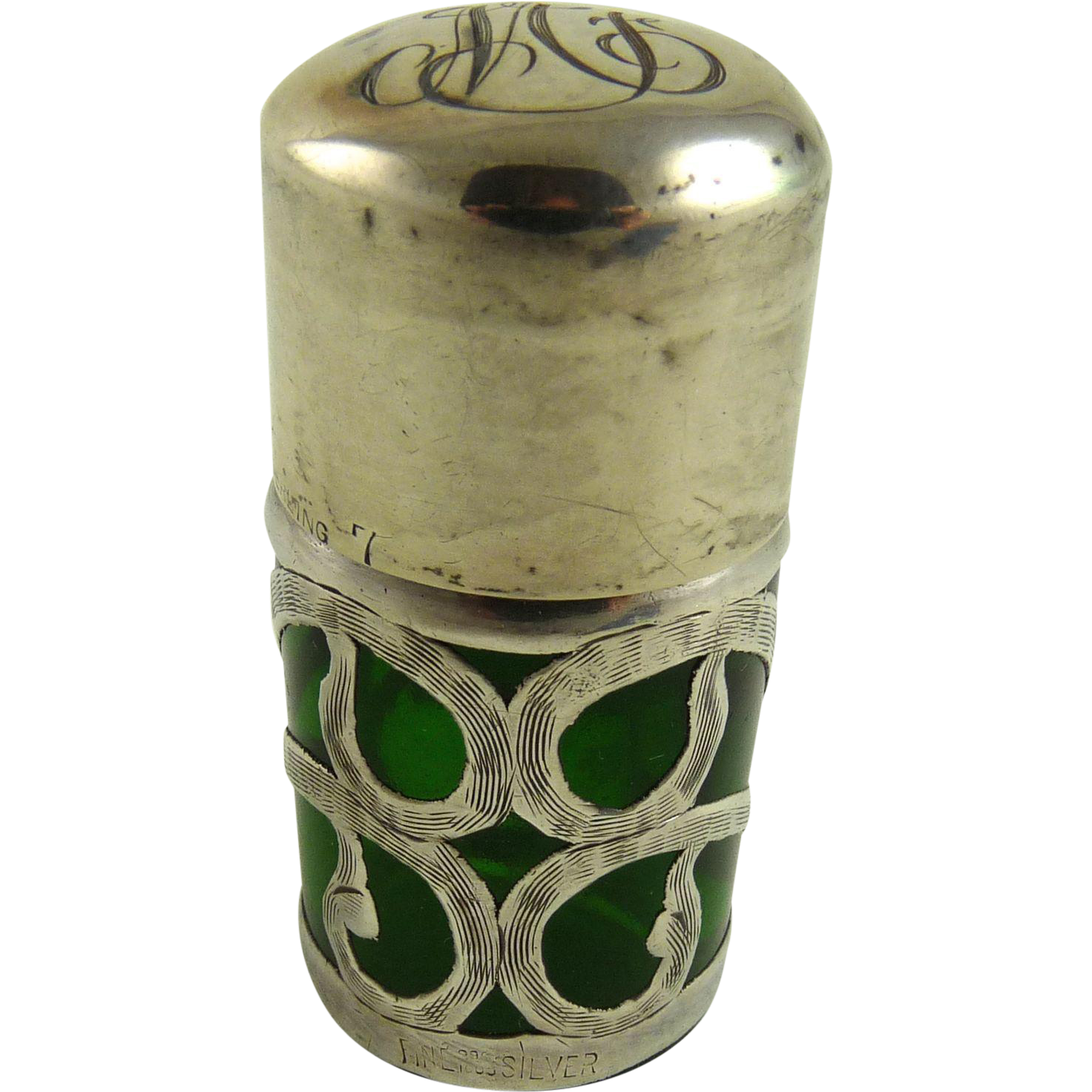 Antique Sterling Overlay Smelling Salts or Perfume Bottle