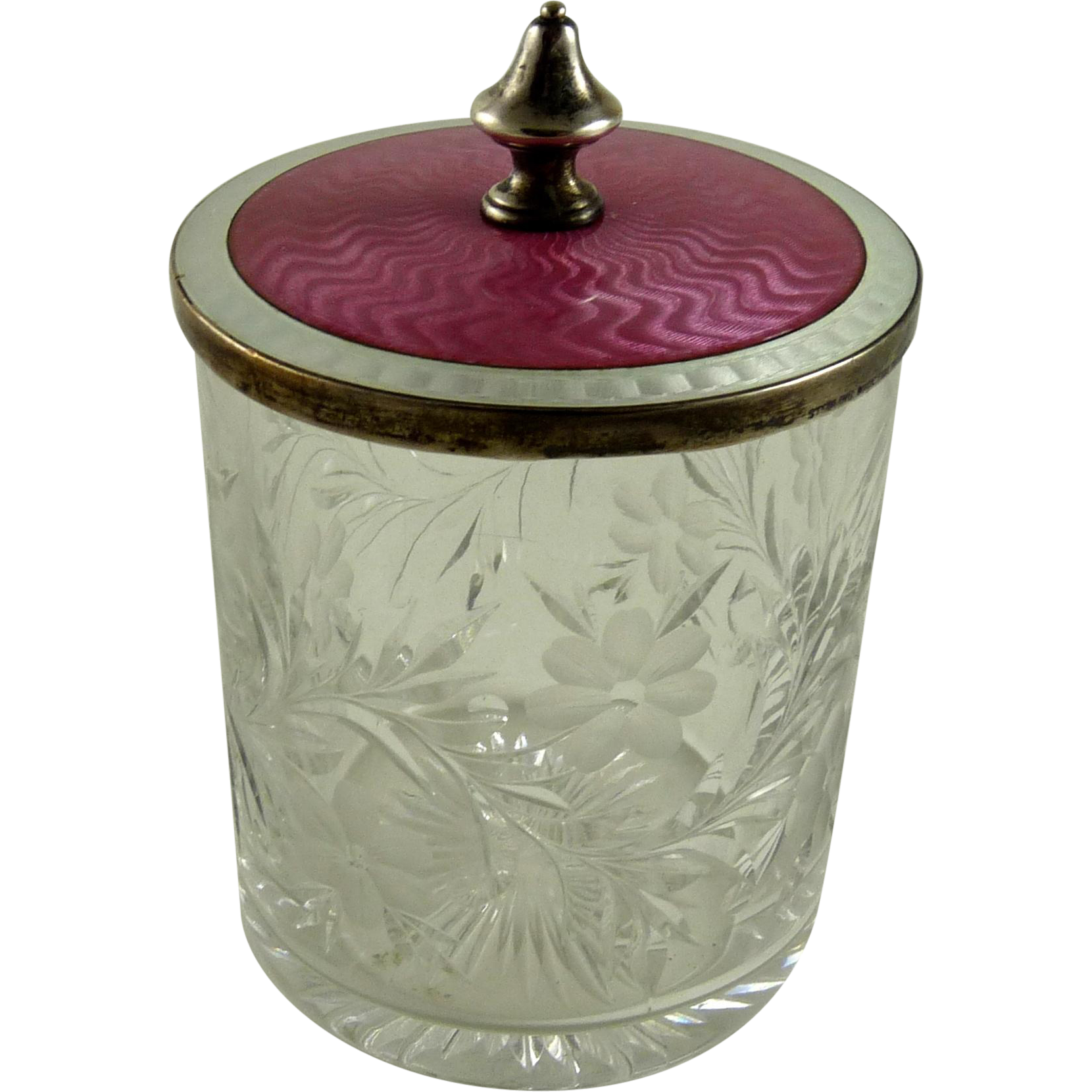 Antique Sterling Guilloche Enamel Cut Glass Condiment Jar Tiffany and Co