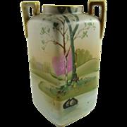 Vintage Nippon Porcelain Cabinet Vase Hand Painted Scenic Design