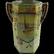 Vintage Hand Painted Nippon Porcelain Cabinet Vase