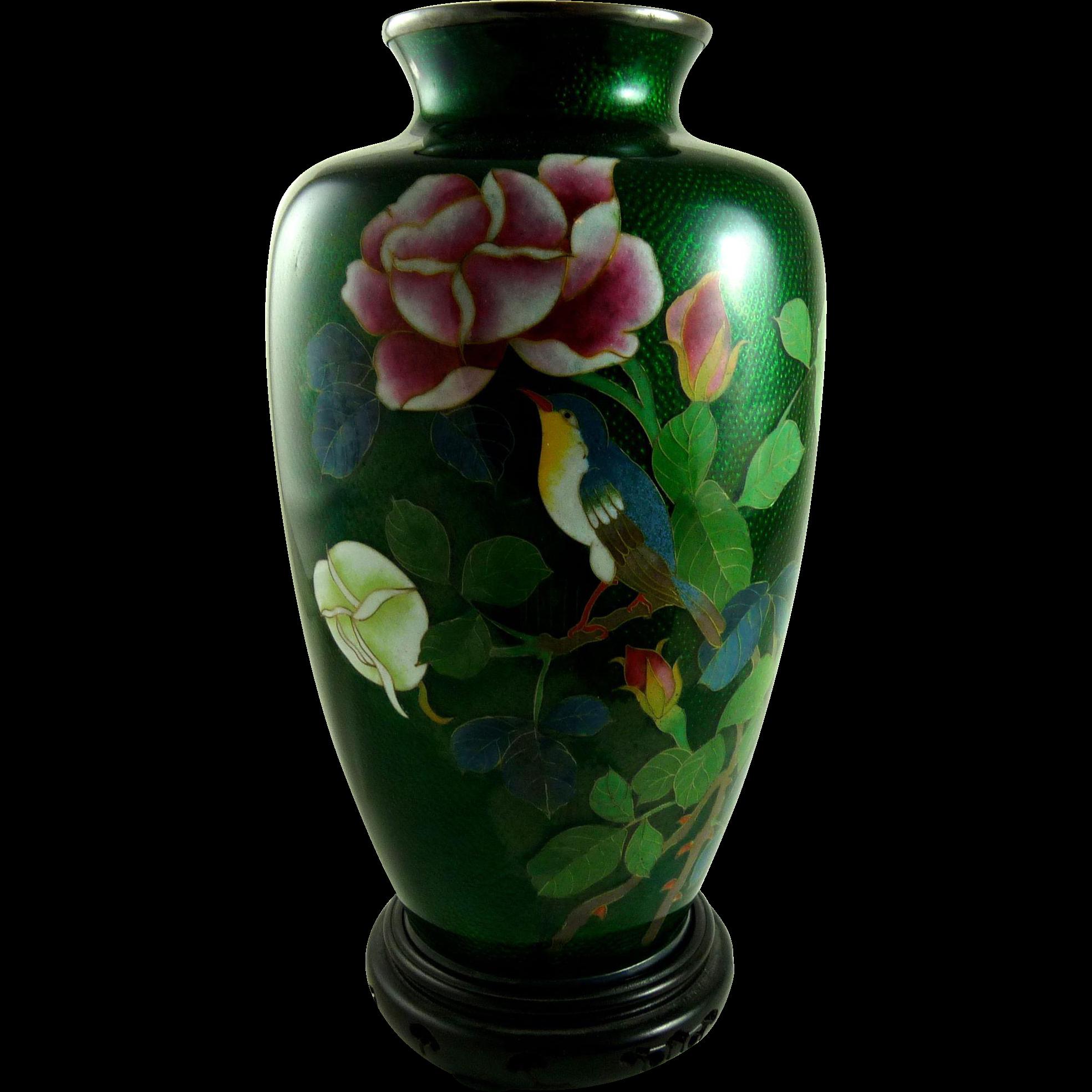 Vintage Japanese Foil Cloisonne Vase