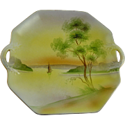 Vintage Nippon Porcelain Serving Plate Two Handled Scenic