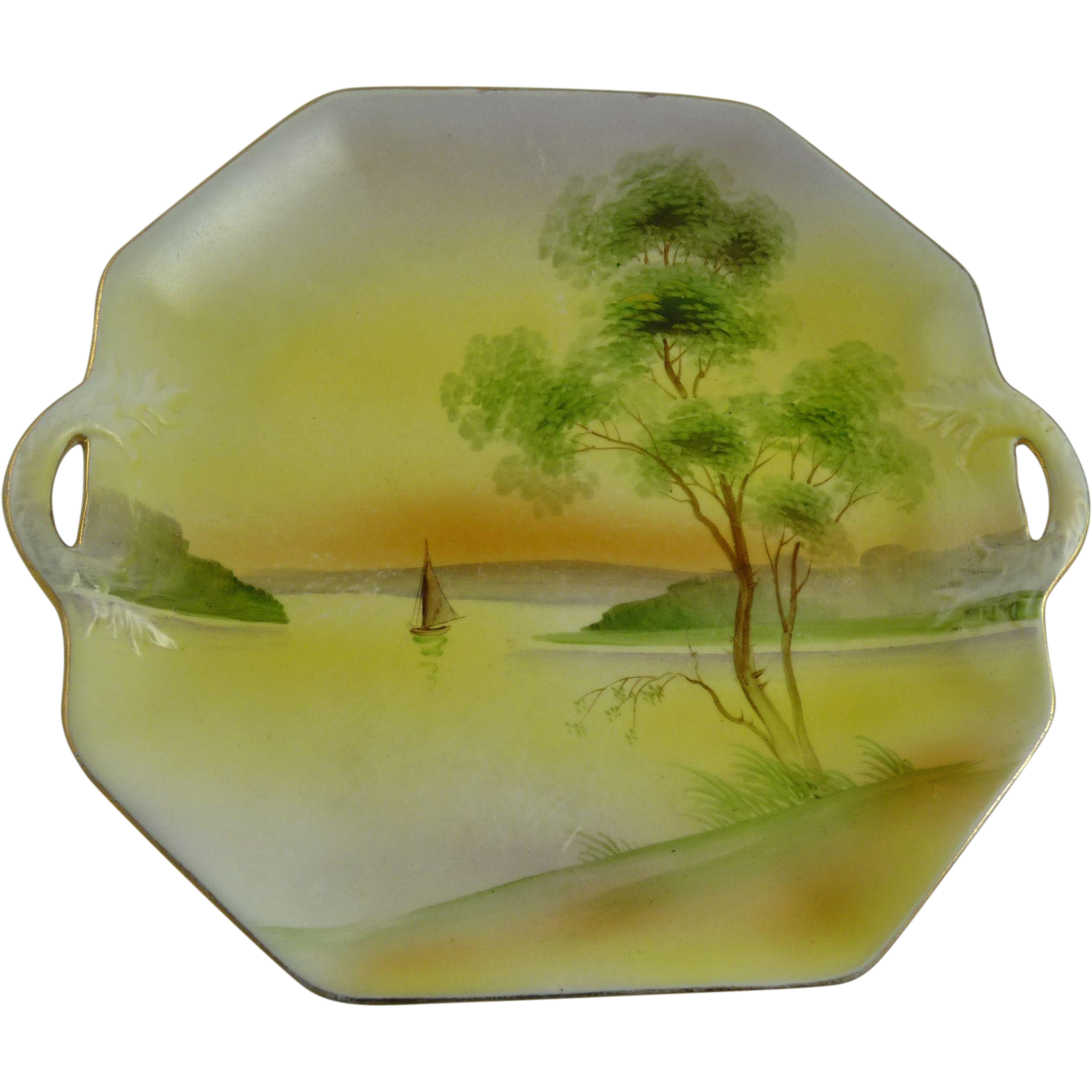 Vintage Nippon Porcelain Serving Plate Two Handled Scenic