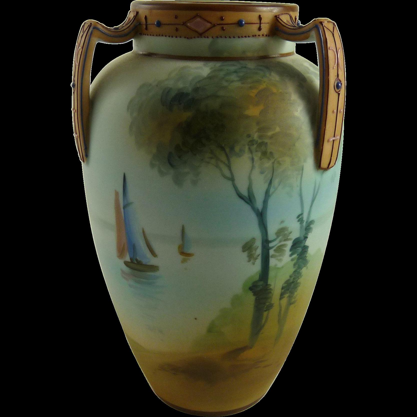 Vintage Nippon Porcelain Three Handled Cabinet Vase