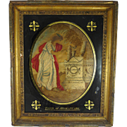 Georgian Silkwork Memorial Embroidery with Eglomise Frame The Tomb of Shakespeare