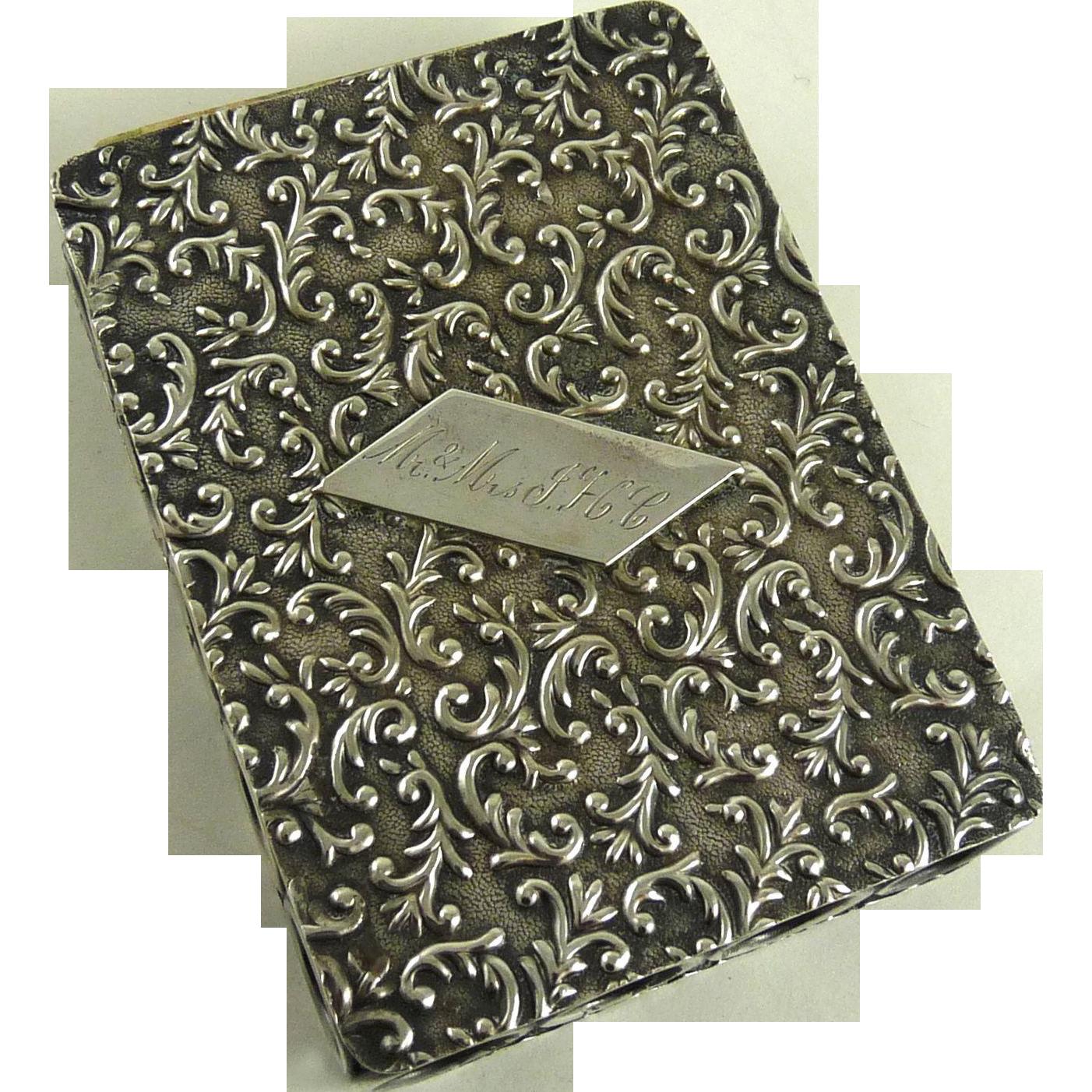 Antique Art Nouveau Sterling Silver Playing Card Case