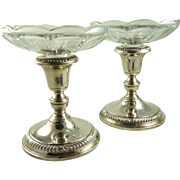 Vintage Pair of Sterling Candlesticks Compotes Whiting
