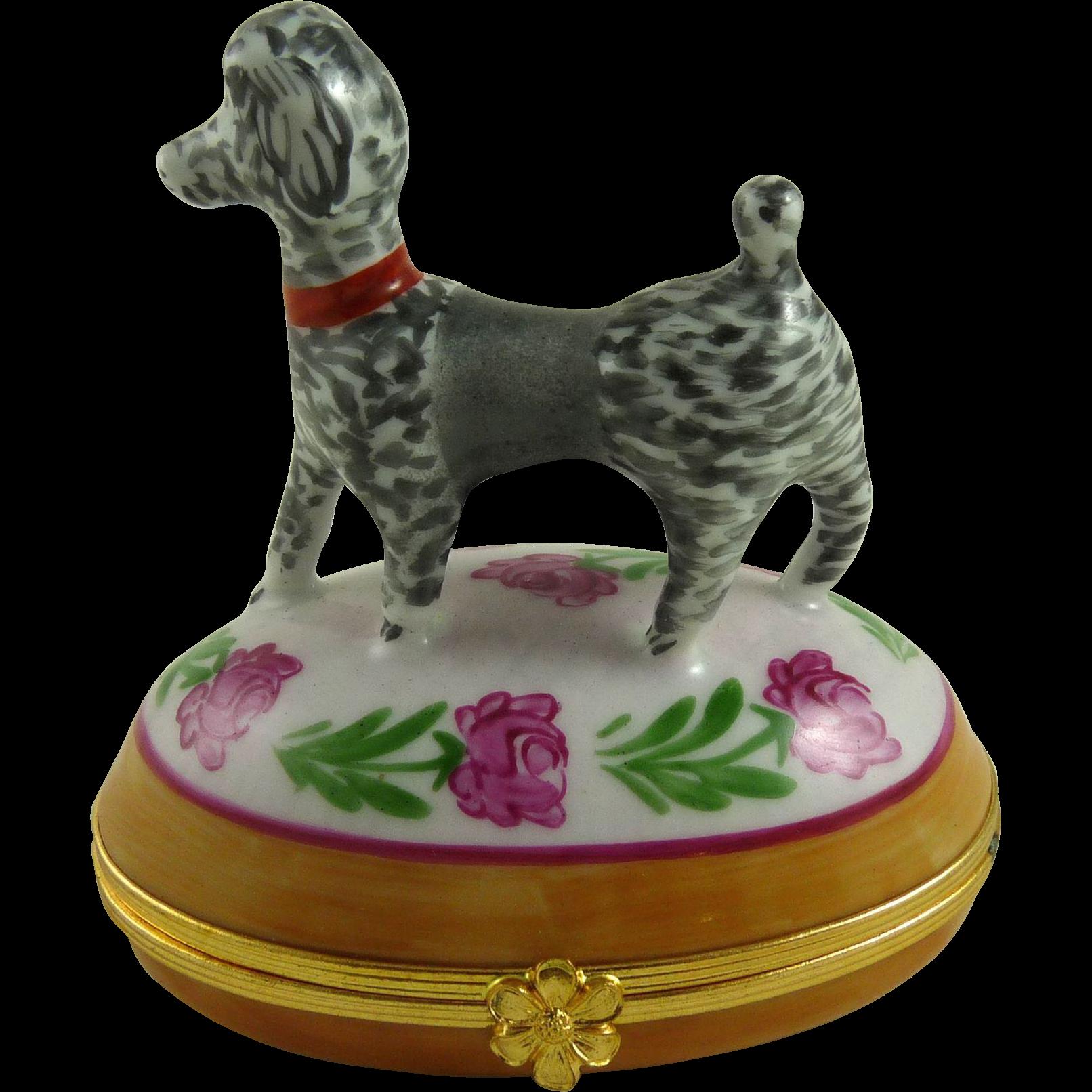 Vintage Limoges Porcelain Box with Poodle Dog