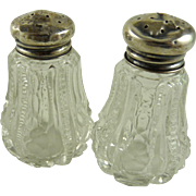 Vintage Cut Glass Salt and Pepper Shakers Sterling Silver Lids