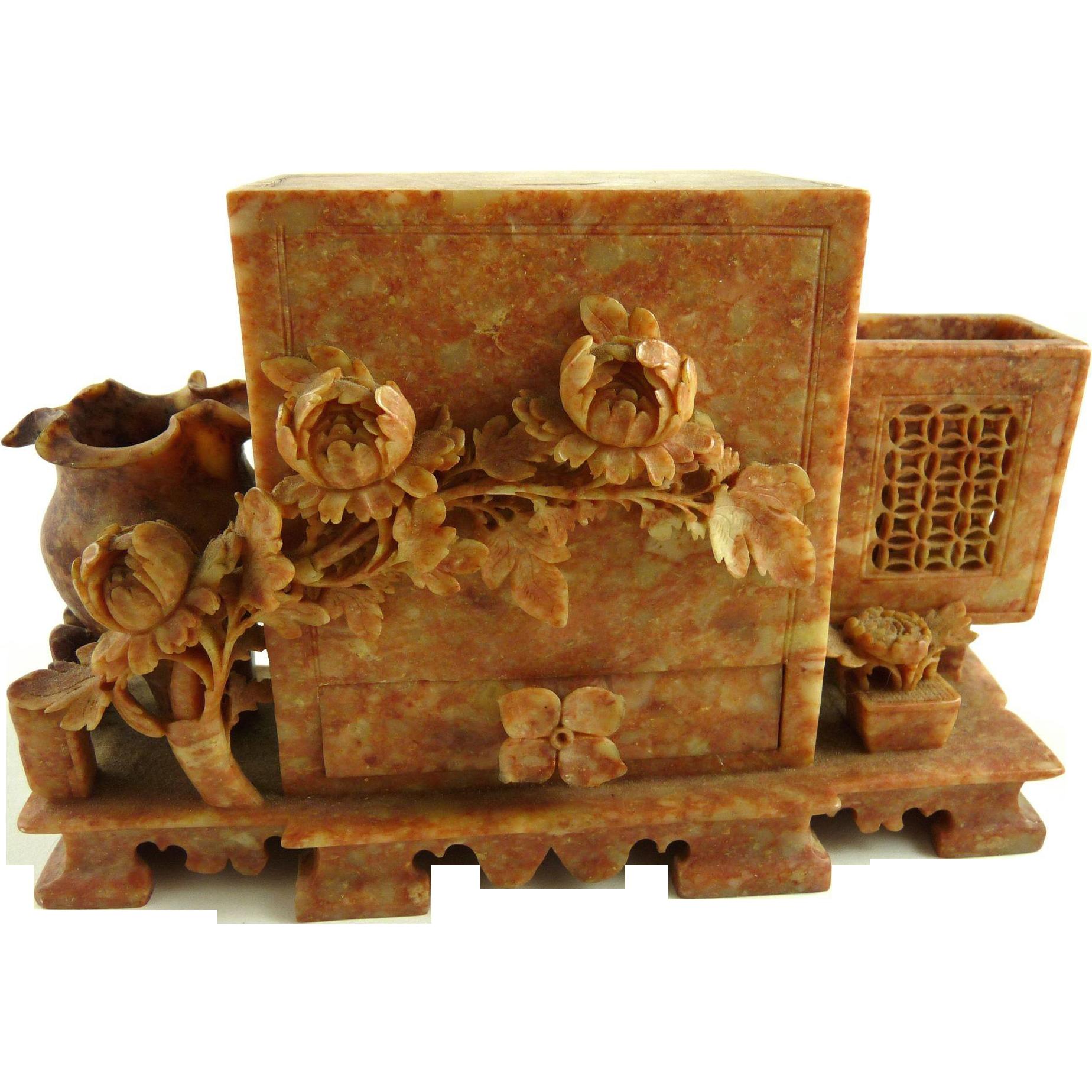 Vintage Chinese Soapstone Cigarette Dispenser Hand Carved